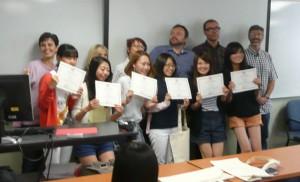 現地24日目(9月3日) ユタ大学ELI (English Language Institute) での授業最終日に クラスメートとの「お別れ会」があり「修了証」をもらう。